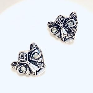 New Panther Crystal Silver Tone Earrings